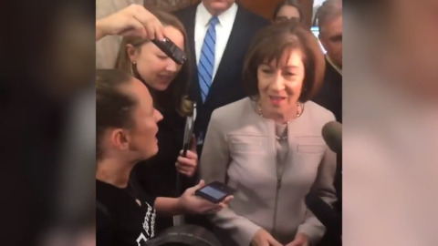 Kavanaugh protesters yell at Sen. Collins for voting 'yes' on procedural vote