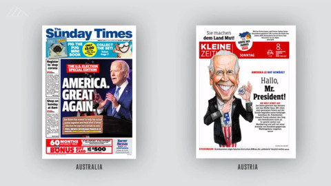 Biden's victory: Newspaper front pages from around the world