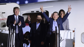 President Trump welcomes home three Americans freed from captivity in North Korea