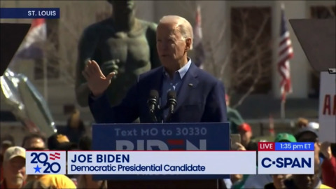 'These guys are doing exactly what Trump does': Biden speaks over protesters in St. Louis