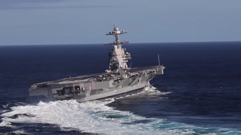 USS Gerald R. Ford conducts high speed turns in sea trials