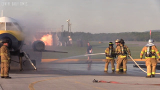 Not a real plane crash, but real training in this airport emergency exercise