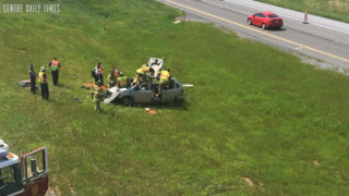 Passenger extricated after I99 rollover crash