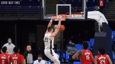A dunk from Harrar during the win over Rutgers