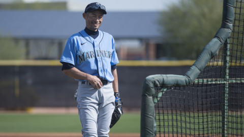 Mariners prospect Julio Rodriguez doubles off an Ichiro pitch during spring training