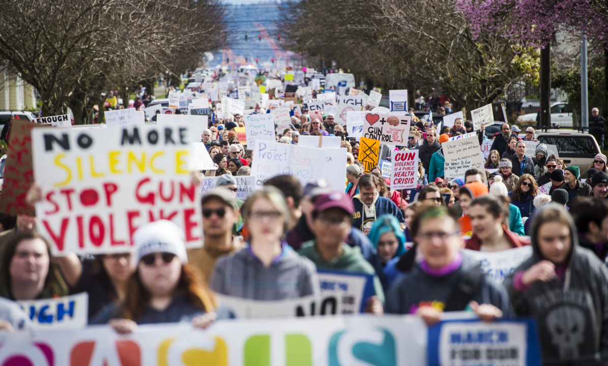 Protesting gun violence, 'March for Our Lives' fills Tacoma