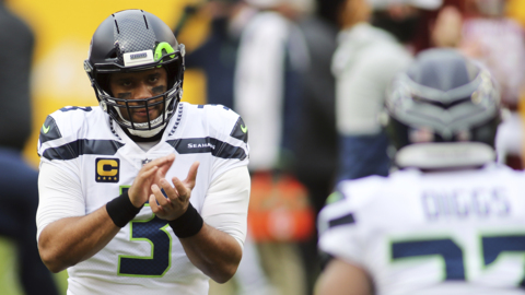 Russell Wilson happy-tweeting again at another Seahawks signing, the Carlos Dunlap coup