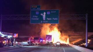 Witness video shows flames of deadly I-84 crash