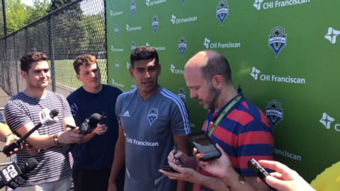 The Seattle Sounders newest signing, Xavier Arreaga speaks with the media on his first day with the team