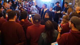 Bud Light's 'Dilly Dilly' king surprises Loyola Chicago fans at local bar