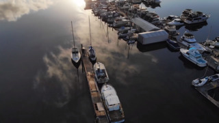 An early morning drone flight over the Longbranch Marina