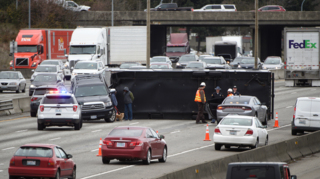 Rollover on northbound I-5 causing backups