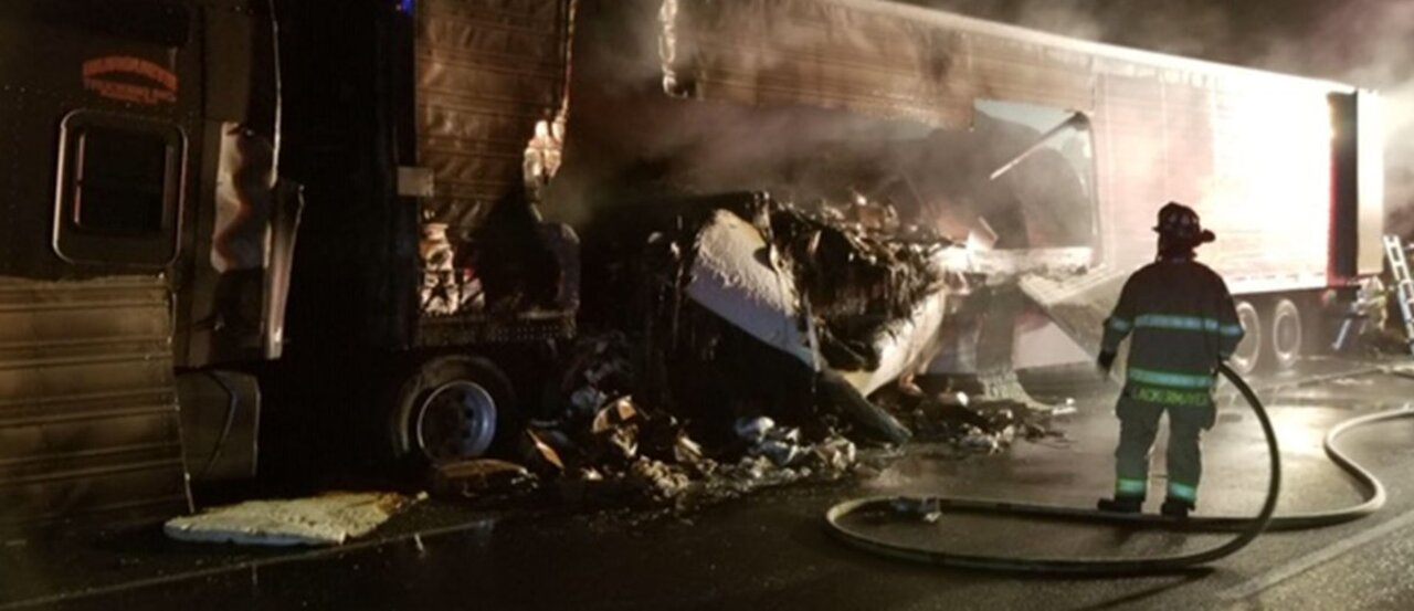 'Delay your trips:' Semi fire, pursuit, 5-car crash closes northbound I-5 in Lakewood