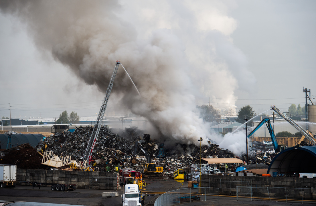Firefighters warn of fumes after fire at Tacoma scrap yard