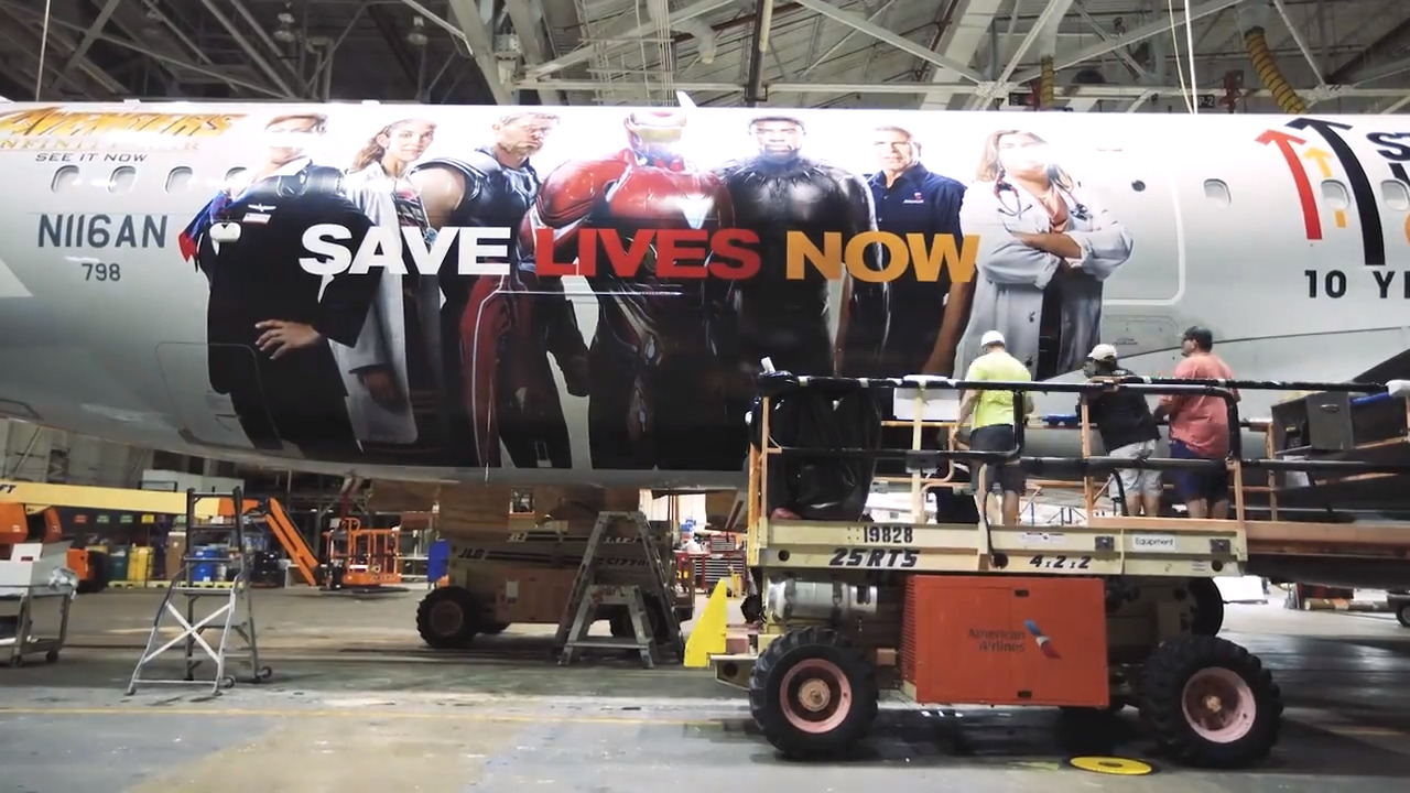 american airlines plane wrap features avengers superheroes | the