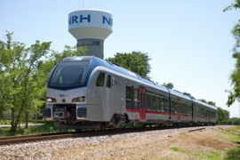 TEXRail testing commuter train cars on tracks in Colleyville, North Richland Hills