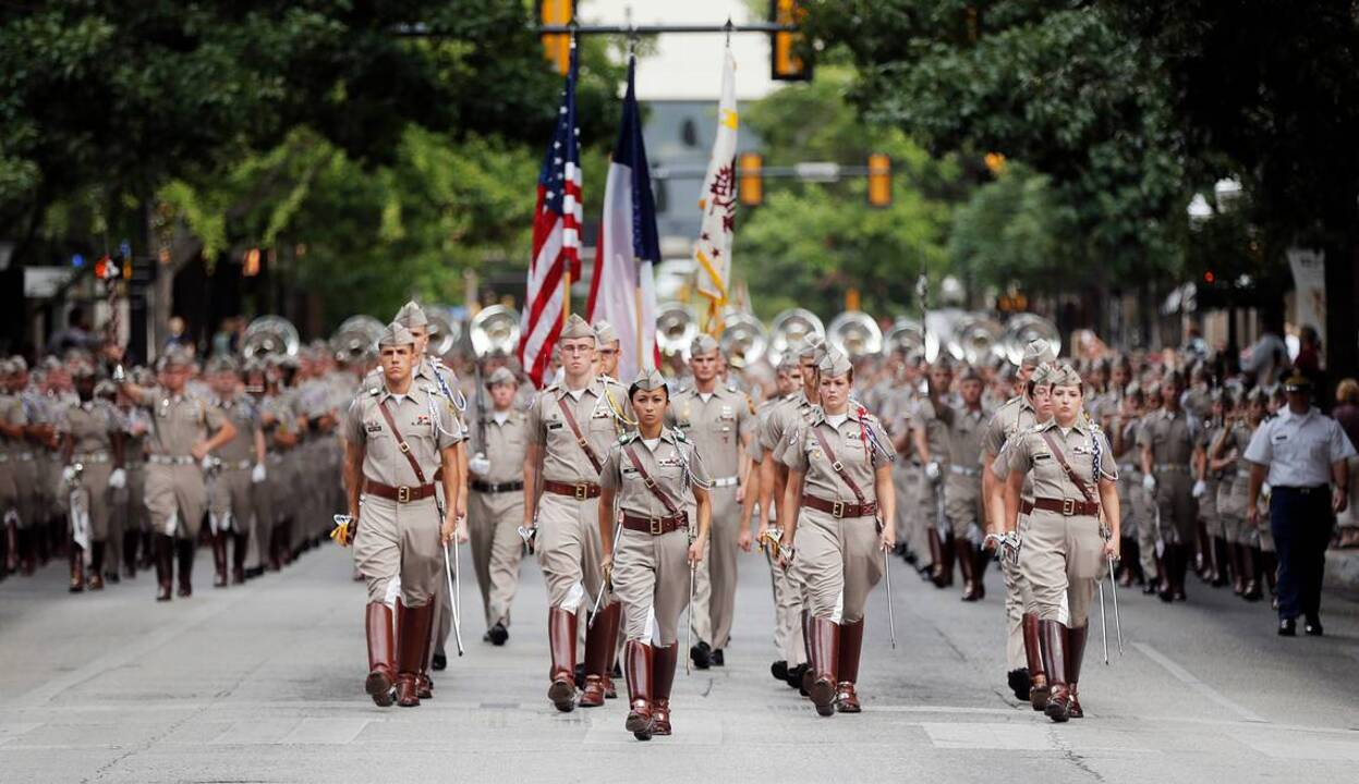 texas a u0026m corps of cadets march in downtown fort worth