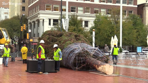 Watch as the Sundance Square Christmas Tree arrives