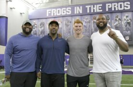 Andy Dalton and Jerry Hughes appreciate TCU reunions