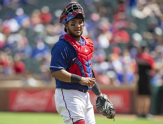 Jose Trevino tries to contain emotions after winning hit for Rangers