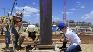 Texas Rangers mark the beginning of the first steel construction at the new Globe Life Field
