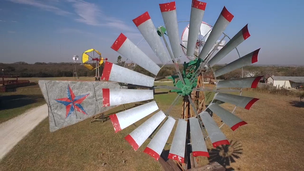 At this family farm they plant full-grown windmills, for your viewing pleasure