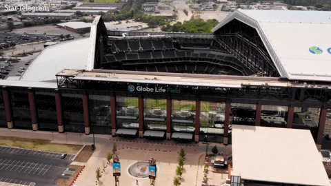 Drone footage shows Globe Life Field from above