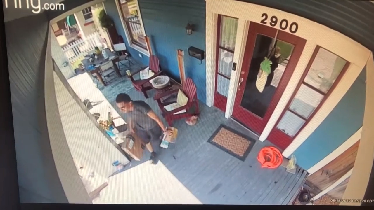 Porch pirate caught on video stealing teacher's school supplies in Fort Worth