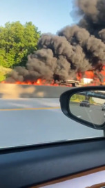 I-75 southbound shut down after huge tractor-trailer fire in Lexington, KY