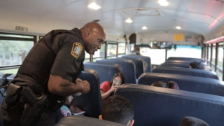 Police chief welcomes elementary students to first day of school