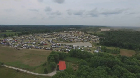 Drone video shows large crowds for 'Redneck Rave' at an offroad park in Kentucky