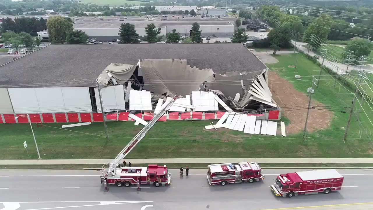 Drone footage of storage building collapse on Leestown & Citation