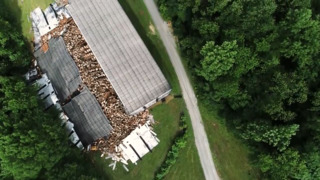 Drone footage: Bourbon barrel storage facility collapse