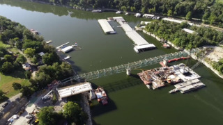 Drone view of old and new Kennedy Mill Bridge