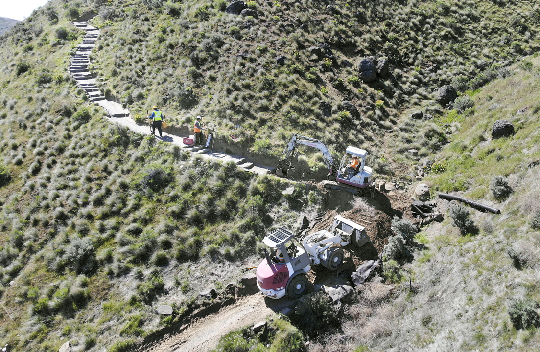Popular Badger Mountain trail still closed to hikers. Project appears to have stalled