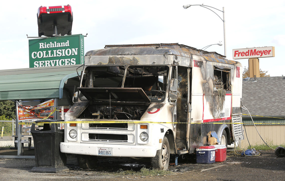 A Richland taco truck was serving food when it burst into flames