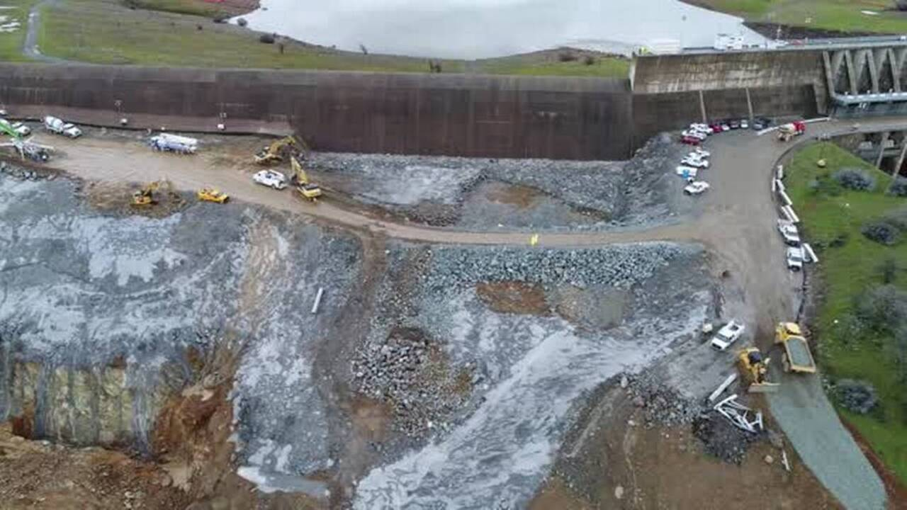 VIDEO: Aerial view of damage to Oroville Dam's main spillway