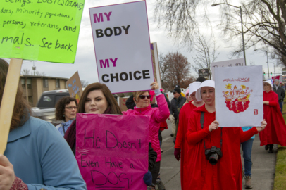 Crowds arrive for the third annual Tri-Cities Women's March and rally