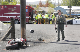 Motorcyclist hits utility pole fleeing police
