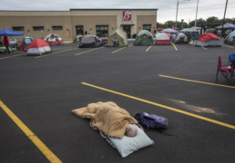 Dedicated chicken fans camp out for shot at free food
