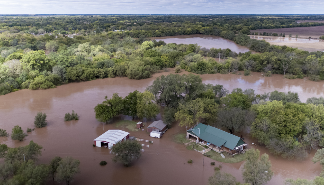 Aerial view of flooding in rural south-central Kansas | The