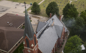 Drone video of Andale church fire