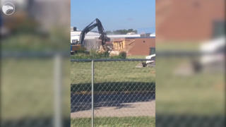 Watch as the Discovery Intermediate School library is torn down