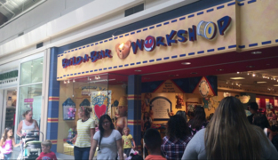 Parents and children wait in line for hours for discount at Build-A-Bear