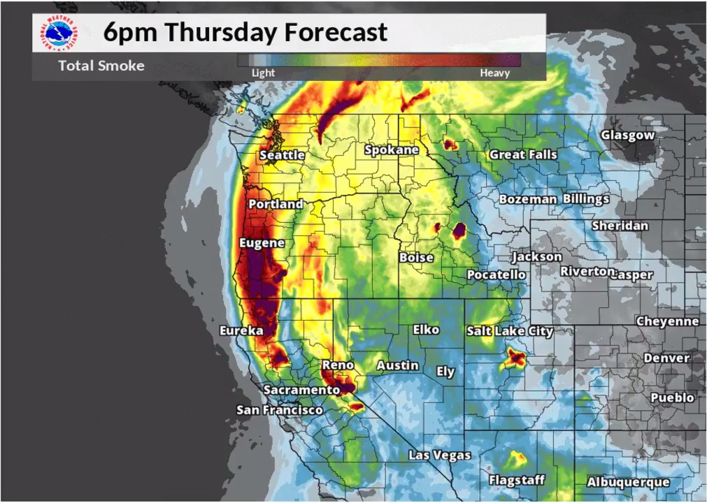 NWS Boise shows today's simulated wildfire smoke forecast