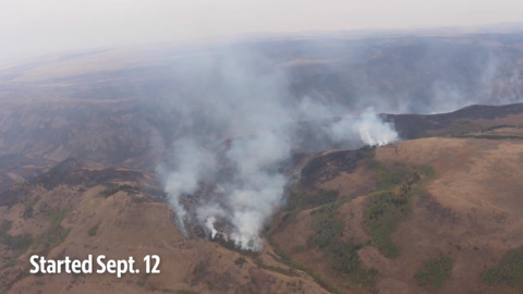 49.000-acre Badger fire from the air with Gov. Little