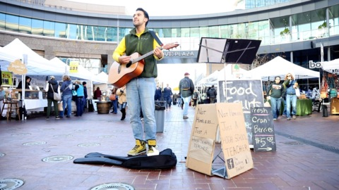 He's a teacher and he busks on weekends. Here's why.