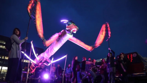 Watch a giant praying mantis macro puppet come to life and dance the night away at Treefort in Boise