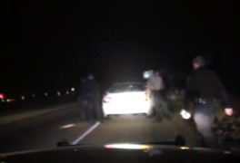 He was pulled over for a turn signal violation. Then he was dragged from his car by multiple officers.