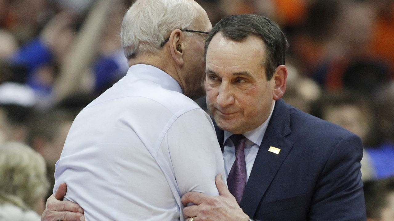 Duke Basketball Duke Coach Mike Krzyzewski And Syracuse Coach Jim Boeheim Have Emotional Embrace Prior To Game Raleigh News Observer